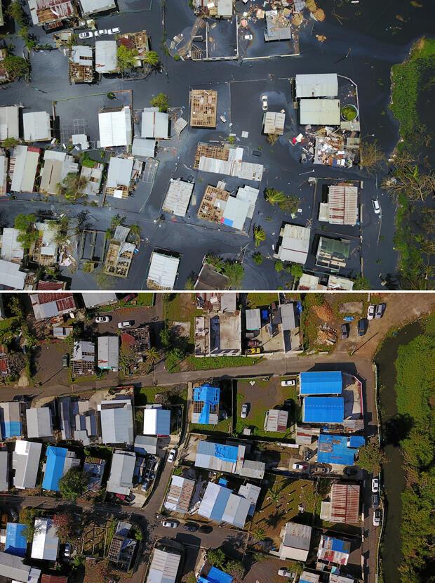 Esta combinación de fotos muestra (arriba) una vista aérea del barrio inundado Juana Matos después del huracán María en Cataño, Puerto Rico, el 22 de septiembre de 2017 y (abajo) una vista aérea del mismo sitio seis meses después.