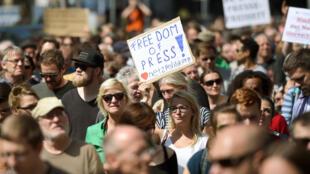 Une manifestation en soutien au site Netzpolitik et à la liberté de la presse, le 1er août à Berlin.