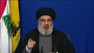 لقطة عن تلفزيون وكالة إيران برس الدولية للأنباء تظهر الأمين عام حزب الله حسن نصرالله خلال إلقائه كلمته في 7 تموز/يوليو 2020