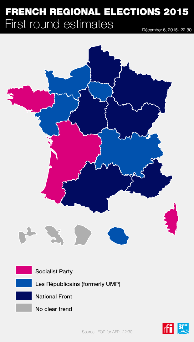 Map Of France Voting.France S Far Right National Front Tops First Round Of Regional Vote