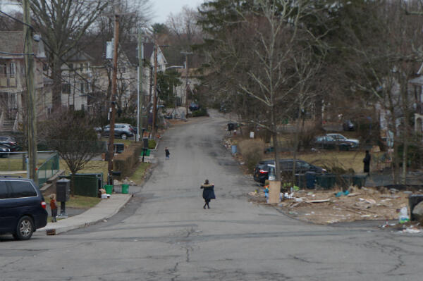 Children play in the street in Monsey, Rockland County, New York.