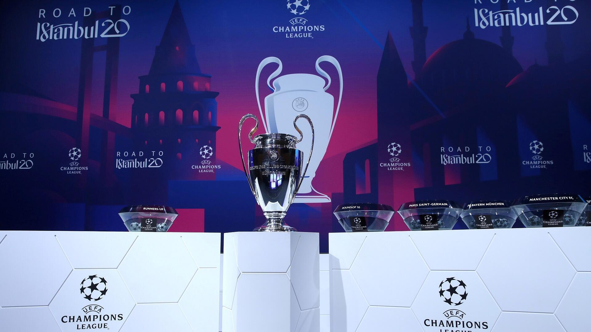 كأس دوري أبطال أوروبا أثناء سحب قرعة الدور ثمن النهائي للموسم الجاري، 16 ديسمبر/كانون الأول 2020.