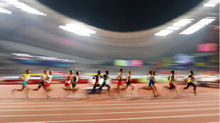 Athletes compete in the Men's 3,000-metre Steeplechase heats at the World Athletics Championships in Doha, Qatar, on October 1, 2019.