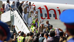 Freed Huthi prisoners arrive in the rebel-held Yemeni capital Sanaa on Thursday as part of a landmark prisoner swap
