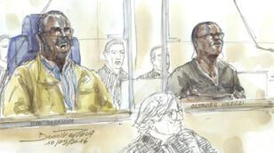 Les deux ex-maires rwandais Tito Barahira et Octavien Ngenzi lors de l'ouverture de leur premier procès à Paris, le 10 mai 2016.