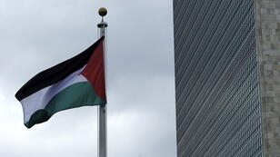 The Palestinian flag is raised for the first time at the UN headquarters in New York.