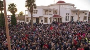 احتجاجات على الأوضاع الاقتصادية في 20 كانون الثاني/يناير 2018 شمال شرق مدينة جرادة.