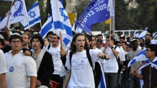 Manifestants israéliens qui commémorent la réunification de Jérusalem, le 13 mai 2018.