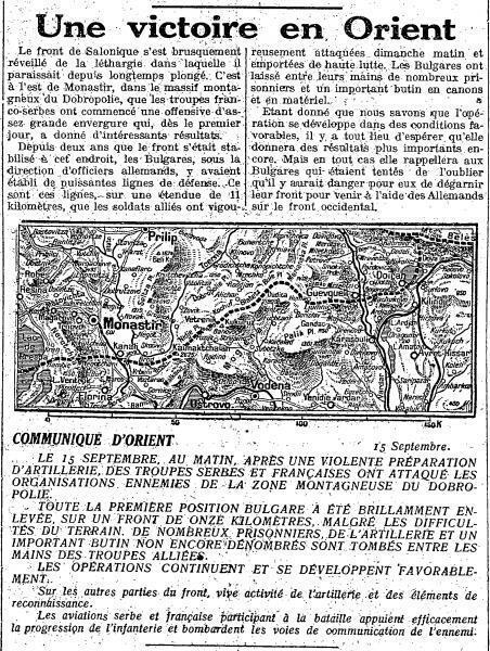 Le communiqué pour saluer la victoire du Dobro Polje en septembre 1918.