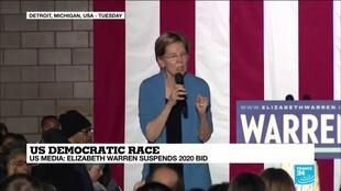 2020-03-05 17:01 US Democratic race: Elizabeth Warren suspends 2020 bid according to US media