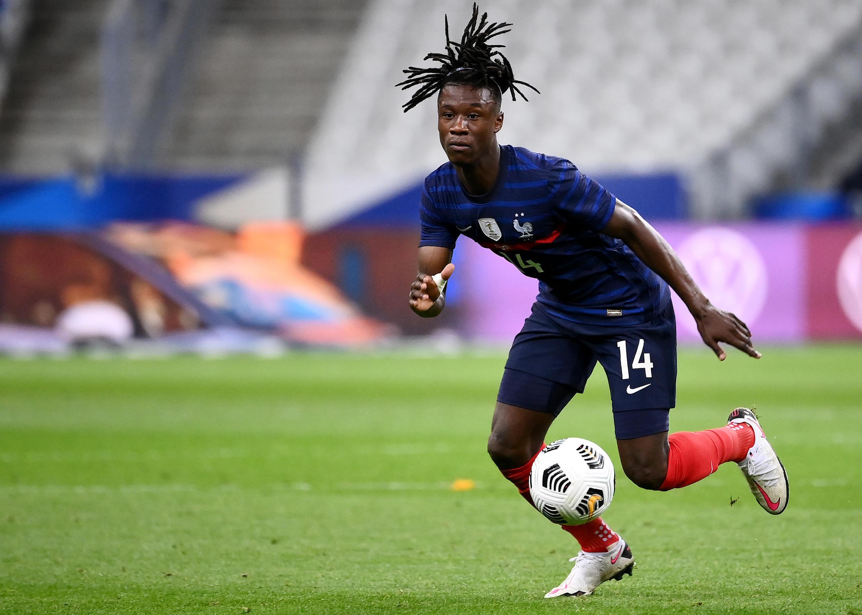 Le jeune milieu des Bleus Eduardo Camavinga éblouissant contre l'Ukraine, en match amical, le 7 octobre 2020 au Stade de France à Saint-Denis