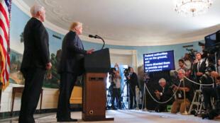 El presidente estadounidense, Donald Trump, durante la declaración que ofreció desde la Casa Blanca el 5 de agosto de 2019 sobre los tiroteos registrados en El Paso y Dayton.