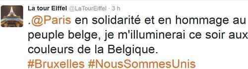 تغريدة برج إيفل بعد تفجيرات بروكسل