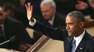 Barack Obama devant le Congrès américain en janvier 2015.