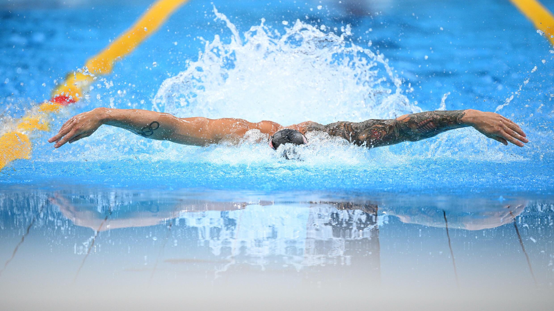 L'Américain Caeleb Dressel lors de la finale du 100 m papillon aux JO de Tokyo, le 31 juillet 2021