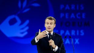 Le président français Emmanuel Macron à l'ouverture du Forum de Paris sur la paix, le 12novembre2019.