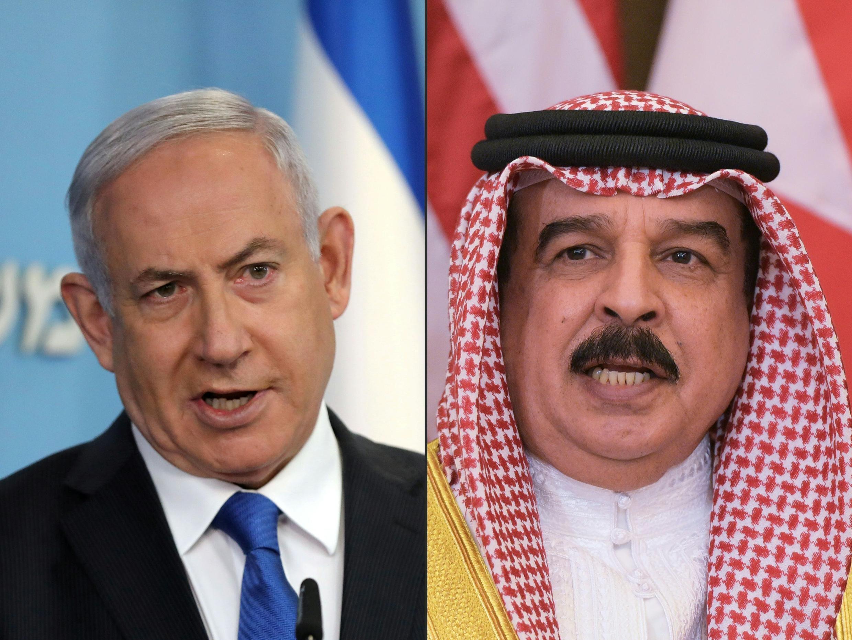 Le Premier ministre israélien Benjamin Netanyahu (à gauche) à Jérusalem, le 13 août 2020, et le roi de Bahreïn Hamad Ben Issa al-Khalifa (à droite) dans la capitale saoudienne Riyad, le 21 mai 2017.