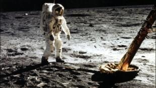 Edwin E. Aldrin Jr. sur la Lune, le 20 janvier 1969