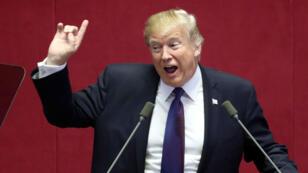 El presidente estadounidense Donald Trump interviene en el Congreso de Corea del Sur. 8/11/2017