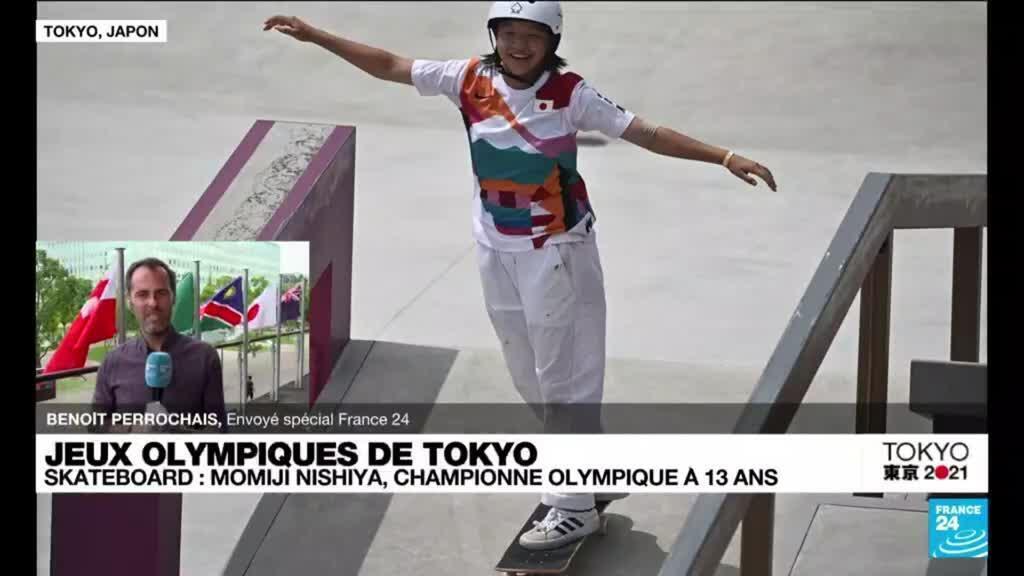 2021-07-26 11:08 JO de Tokyo : la Japonaise Nomiji Nishiya première médaille d'or de l'histoire en skateboard