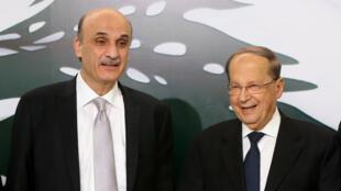 Samir Geagea et Michel Aoun, photographiés ce lundi 18 janvier.