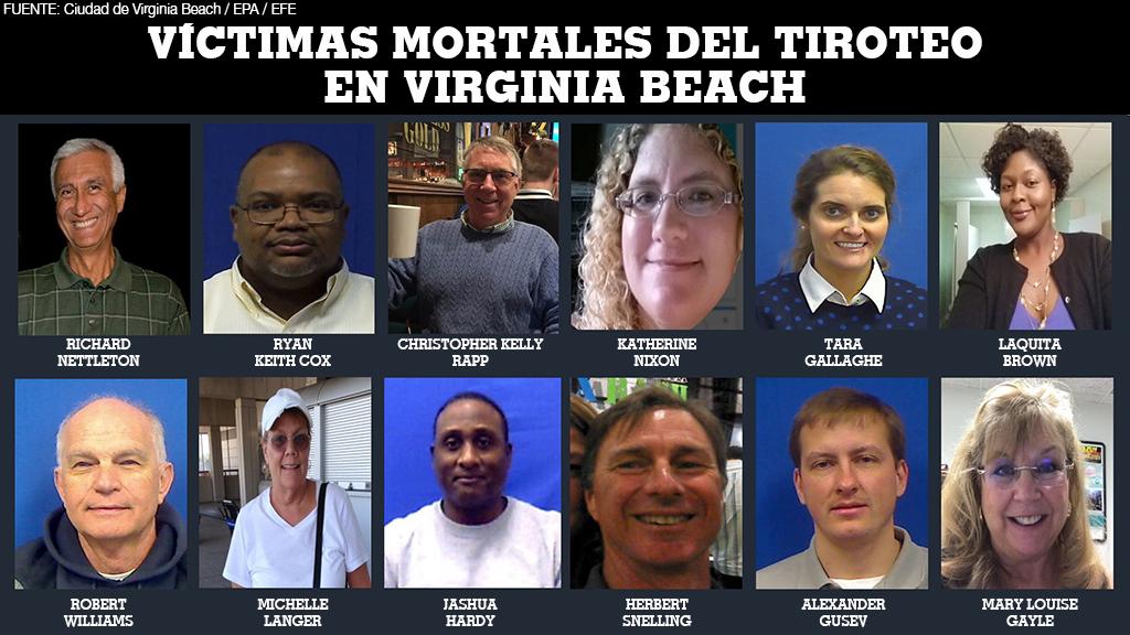 Las autoridades revelan la identidad de las víctimas mortales que dejó un tiroteo en Virginia Beach, Estados Unidos, el 1 de junio de 2019.