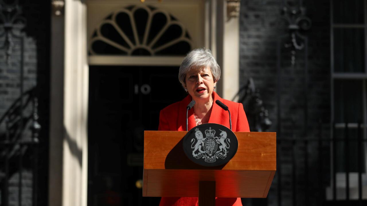La primera ministra británica, Theresa May, hace una declaración para anunciar su renuncia en Londres, Reino Unido, el 24 de mayo de 2019.