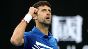 Le Serbe Novak Djokovic lors de son match face à Rafael Nadal, le 27 janvier 2019.