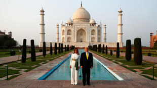 US President Donald Trump and First Lady Melania Trump at the Taj Mahal in Agra, India, February 24, 2020.
