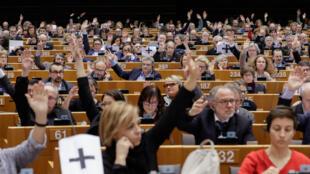 Sesión donde el pleno del Parlamento Europeo vota una resolución para fijar su posición sobre la crisis en Venezuela. Bruselas, 31 de enero de 2019.
