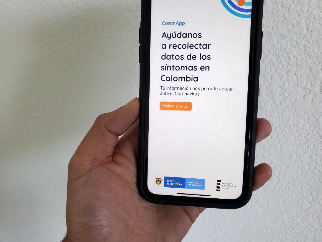 La aplicación móvil CoronApp-Colombia, que el gobierno colombiano ha pedido a los residentes que descarguen para realizar encuestas de salud y potencialmente permitir un rastreo de contactos más eficiente.