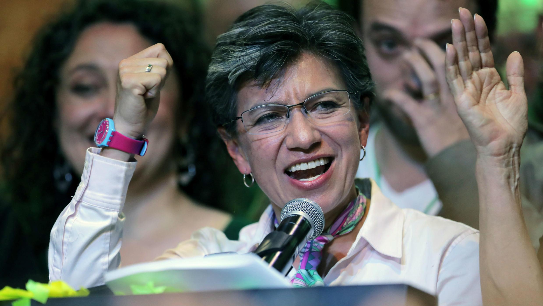 Claudia López celebra su elección a la Alcaldía de Bogotá en Colombia, el 27 de octubre de 2019.