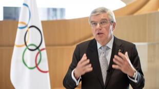 Le président du Comité international olympique (CIO), Thomas Bach, à Lausanne, le 24 mars 2020