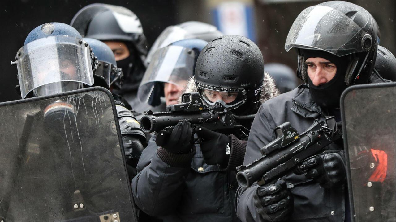 Des policiers mobilisés dans le cadre de la manifestation des Gilets jaunes, le 15 décembre 2018.