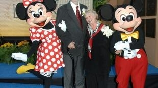 Minnie Mouse voice actor Russi Taylor is pictured in this October 13, 2008 photo with her husband, Wayne Allwine, who provided the voice for Mickey Mouse