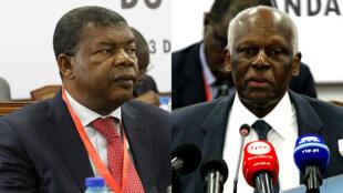 Le président angolais José Eduardo dos Santos (D) et son actuel ministre de la Défense, Joao Lourenço (G), lors d'un meeting à Luanda, le 3 février 2017.