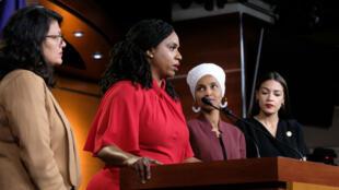 Les quatres élues démocrates progressistes visées par Trump lui ont répondu lundi 15 juillet lors d'une conférence de presse commune.
