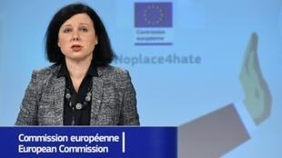 """EU Justice Commissioner Vera Jourova is shown here in February speaking out against anti-Semitism, warning: """"When Jews have left Europe in the past, it has never been a good sign of the state of Europe"""""""