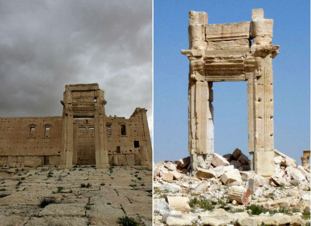 Palmyra's historic Temple of Bel before and after the Islamic State group destroyed it.