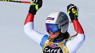 Switzerland's Corinne Suter was a junior downhill and Super-G world champion in 2014