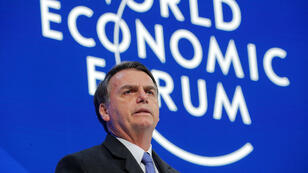 El presidente de Brasil, Jair Bolsonaro, habla en la primera jornada del Foro Económico Mundial en Davos, Suiza. 22 de enero de 2019.