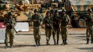 جنود أتراك في الريحانية قرب الحدود مع سوريا في 10 تشرين الأول/أكتوبر 2017