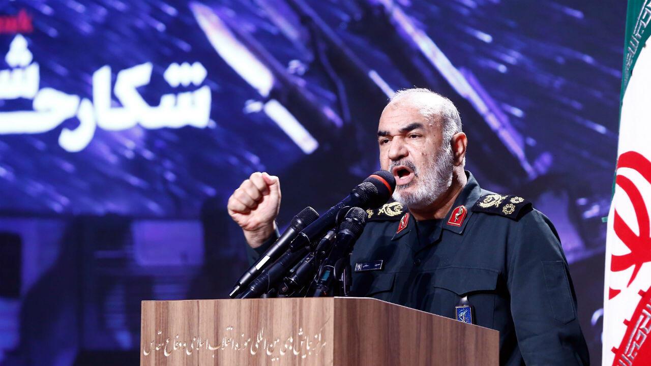 El comandante en jefe de la Guardia Revolucionaria de Irán (IRGC), Hossein Salami, habla durante una ceremonia en el museo de defensa de Teherán, en la capital de Irán, el 21 de septiembre de 2019.